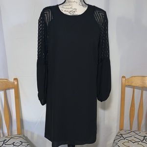 Sheer sleeve, black dress. 🏷 New with Tags